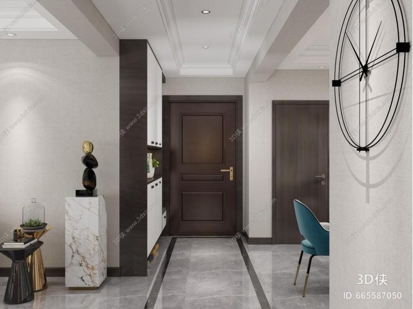 新中式客厅 玄关 门厅柜 鞋柜