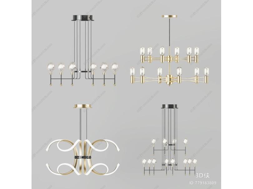 现代吊灯 金属吊灯 吊灯组合