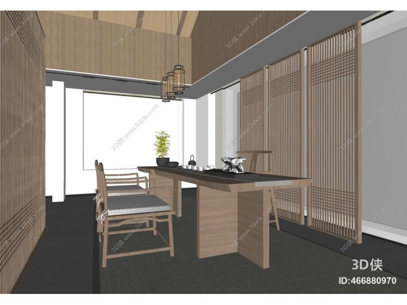新中式茶室 茶桌椅组合