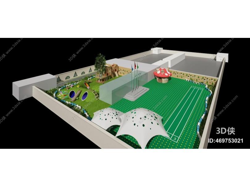 现代鸟瞰 操场 跑道 蘑菇屋