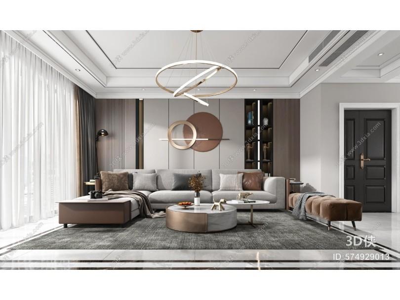 现代客厅 沙发 电视柜 吊灯 装饰画