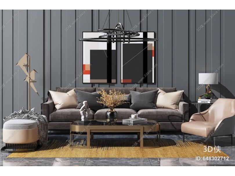 現代輕奢沙發茶幾組合 休閑單椅 藝術吊燈