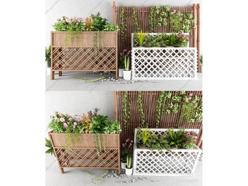 现代户外植物 花架花圃 花草植物 室内植物