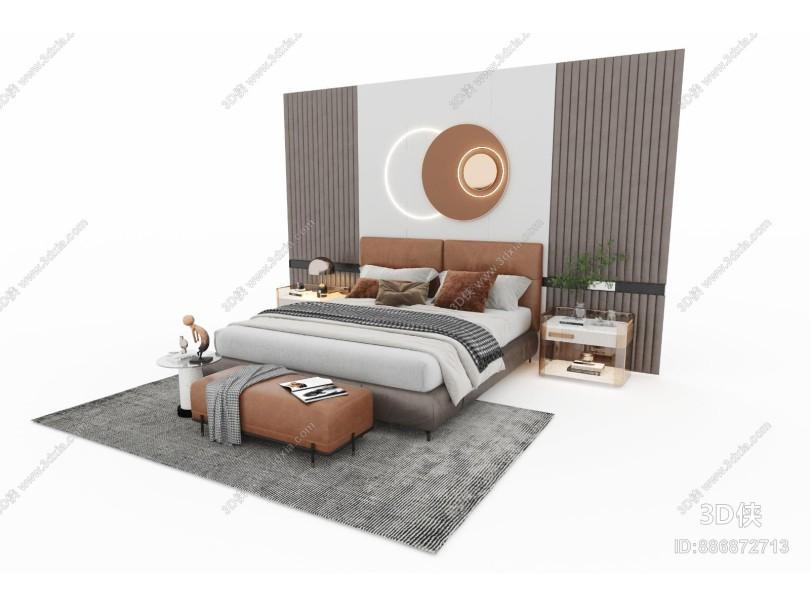现代风格双人床 床头柜 床头背景 床尾凳