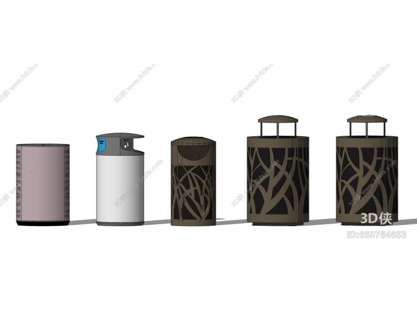 现代户外单桶垃圾箱