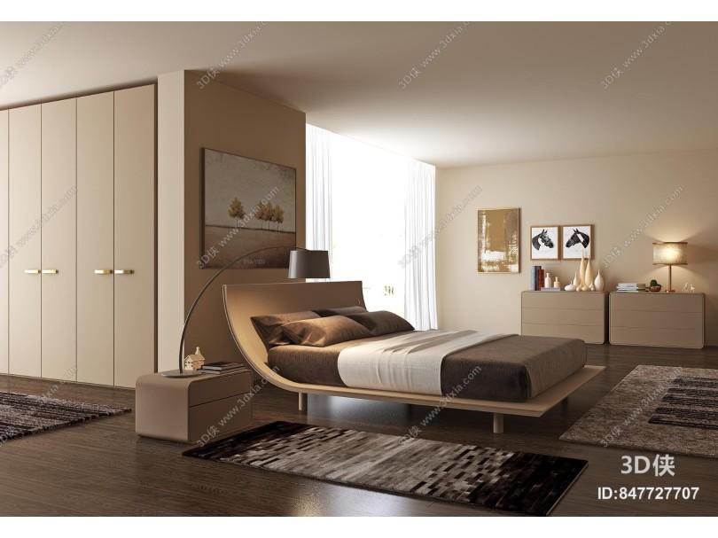 现代简约卧室 双人床