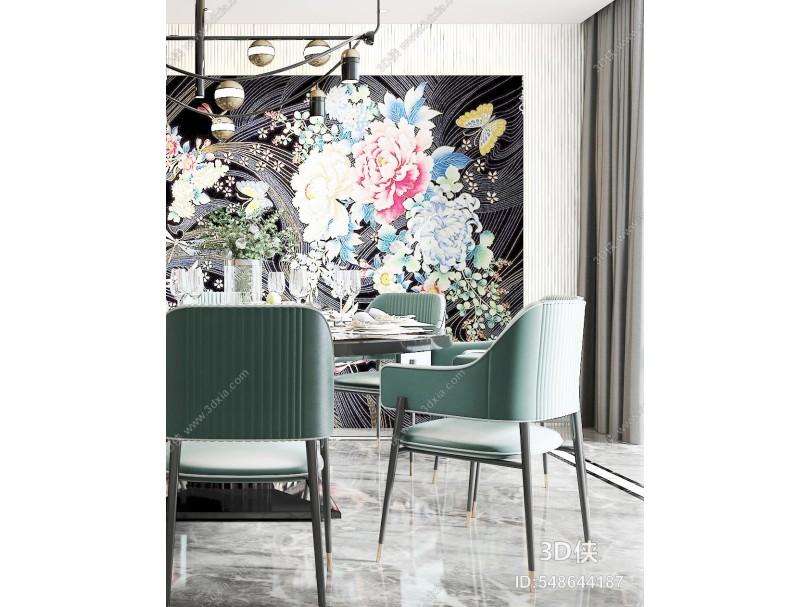 现代餐厅 厨房 餐椅 餐桌 吊灯 挂画 背景墙 酒柜