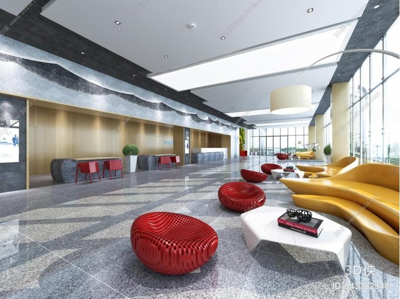 现代咨询大厅 前台 接待厅 异型沙发 茶几 单人椅