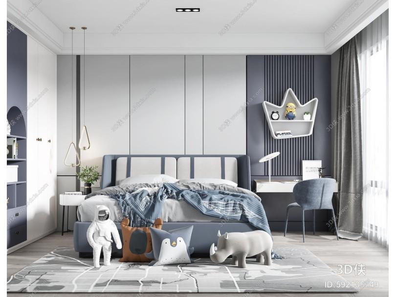 现代男孩房 儿童房 双人床 吊灯