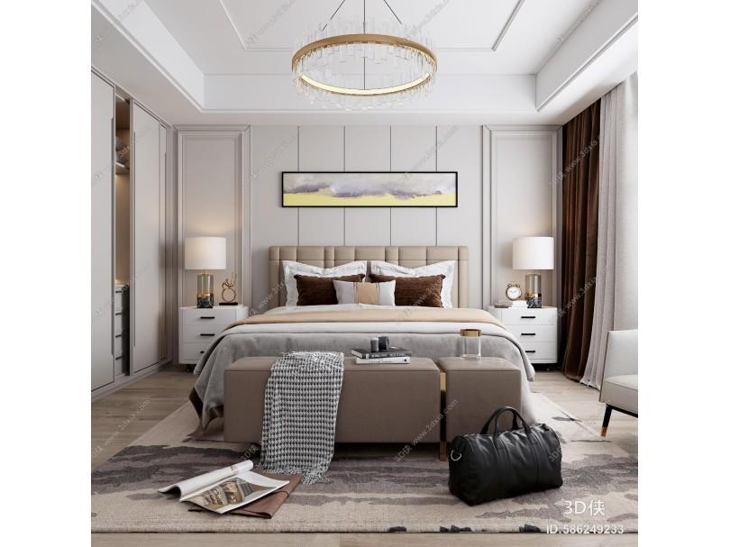 现代卧室 装饰画 吊灯