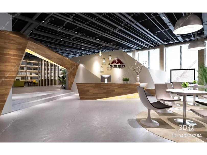 现代公司前台 大厅 桌椅 书架 沙发茶几 吊灯