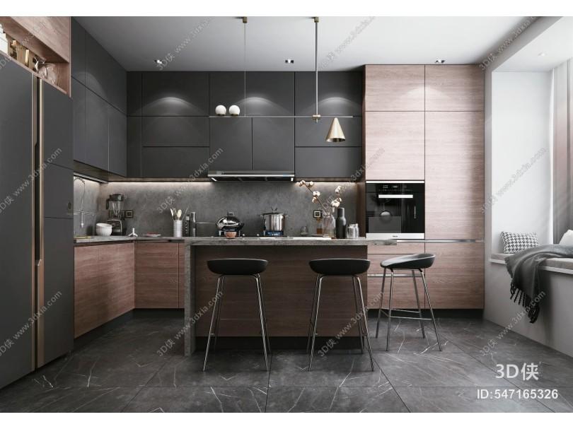 现代风格开放式厨房 橱柜 电器