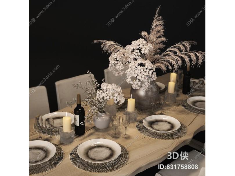 现代实木餐桌椅模型组合
