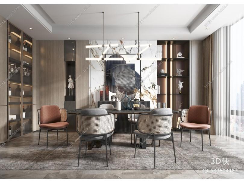 现代餐厅 餐桌 椅子