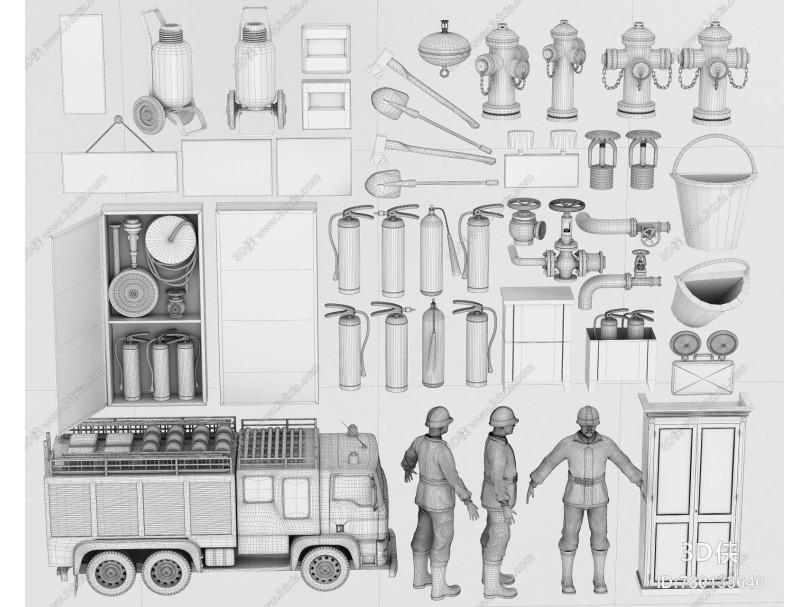 现代消防器材 消防车 消防栓
