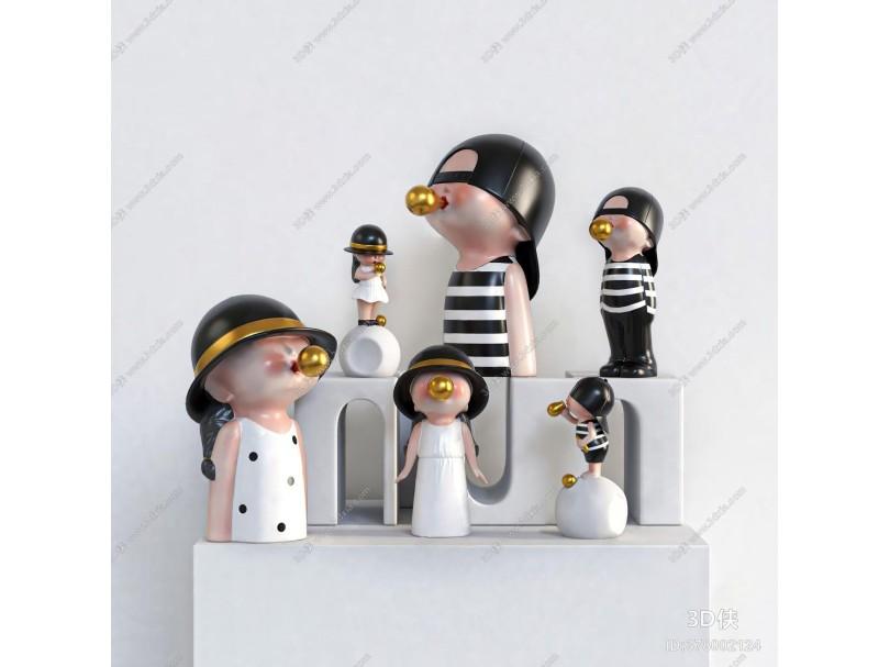 Dnnni现代摆件组合 吹泡泡小孩 树脂雕塑