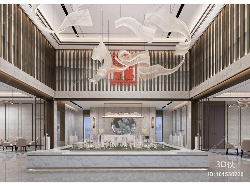 新中式售楼处 吊灯 接待区