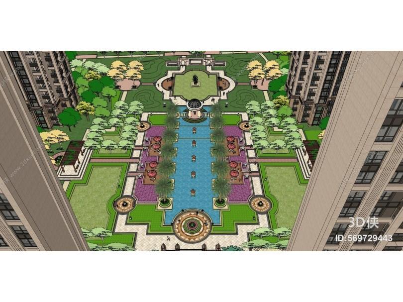 欧式住宅景观 广场景观 景观小品