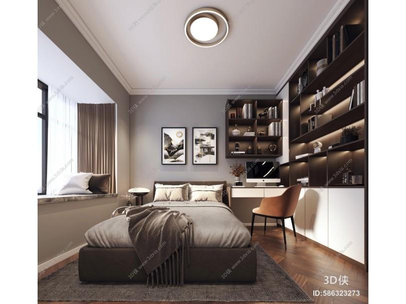 现代卧室 休闲椅 柜子