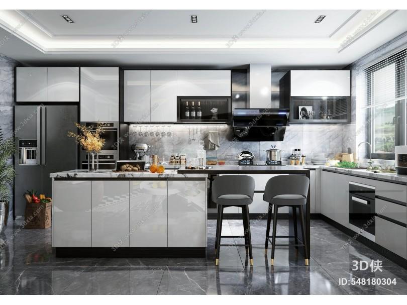 现代开放式厨房 橱柜 岛台