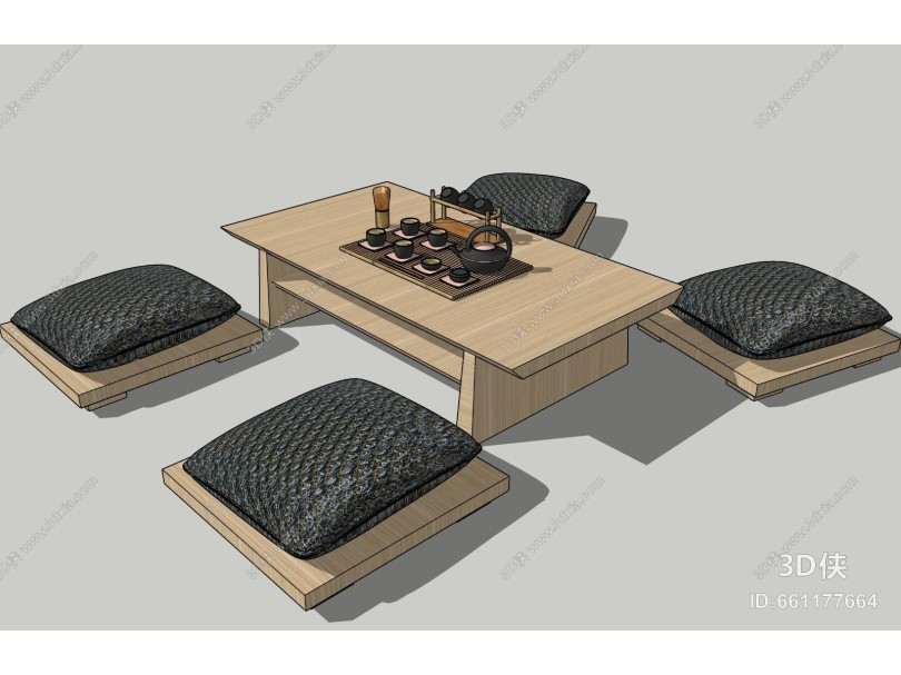 日式休闲桌椅组合 矮桌 茶具