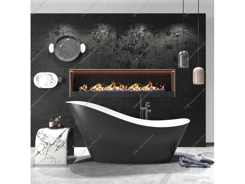 现代高级黑浴缸