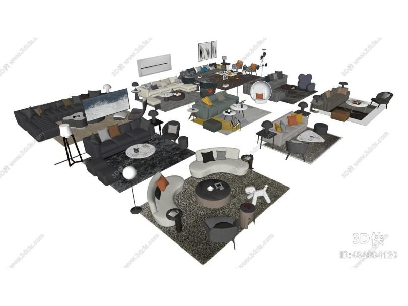现代组合沙发 茶几 客厅