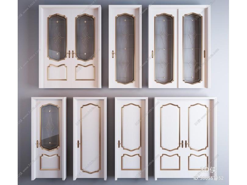 简欧描金烤漆房门单开门移门推拉门组合 描金门 玻璃移门