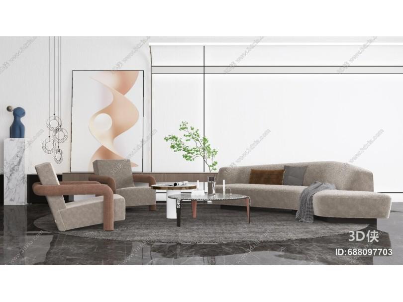 现代沙发组合 吊灯 挂画