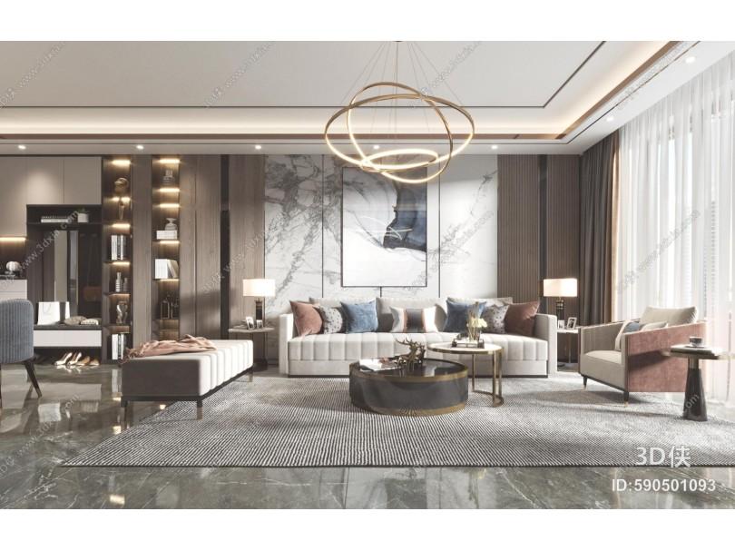 现代客厅 餐厅 沙发 餐桌 电视柜 酒柜 吊灯 装饰画