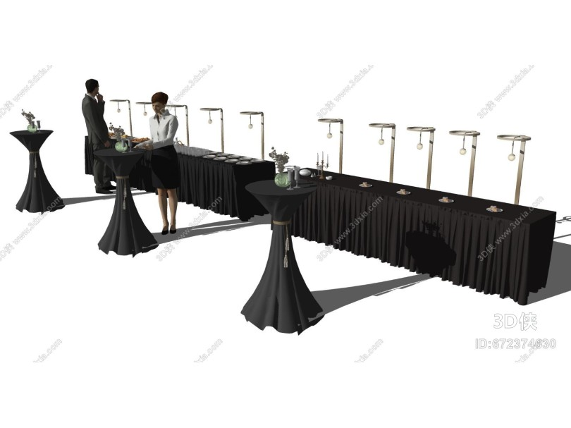 现代酒会餐桌 茶歇台 自助餐