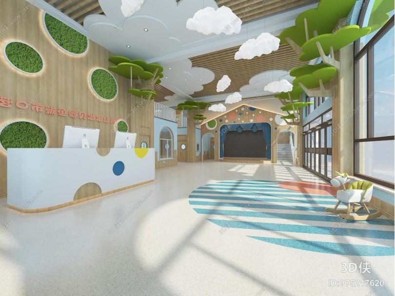 现代幼儿园 大厅 走廊 吊灯 前台