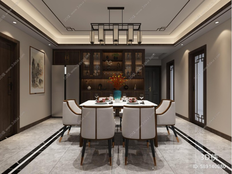 新中式客餐厅 吊灯 沙发