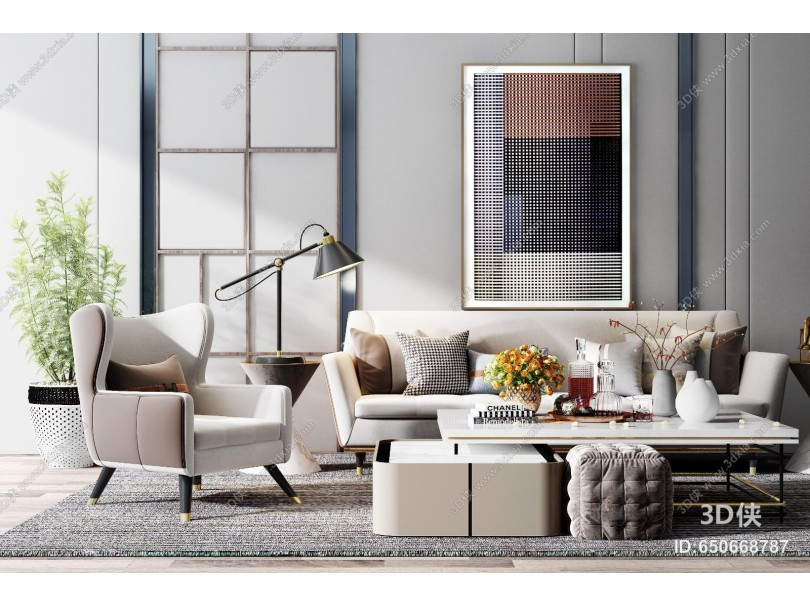现代沙发组合 沙发 椅子 单人沙发 茶几 台灯 凳子 背景墙