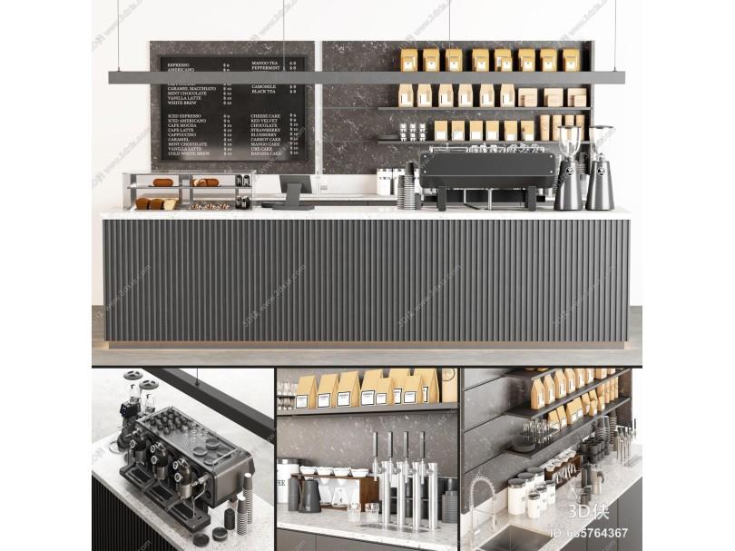 现代咖啡吧 前台 收银台 咖啡机