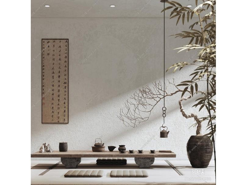 新中式休息娱乐室 茶室 字画