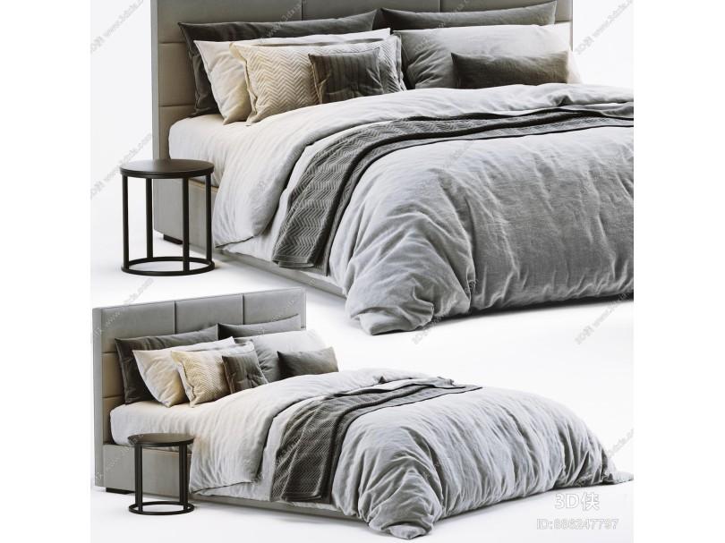 现代双人床 边几 枕头 抱枕