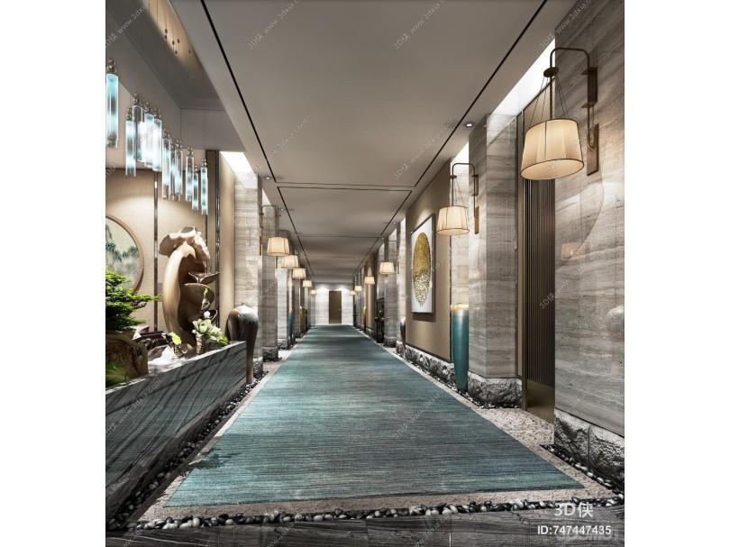新中式酒店过道 景观 植物