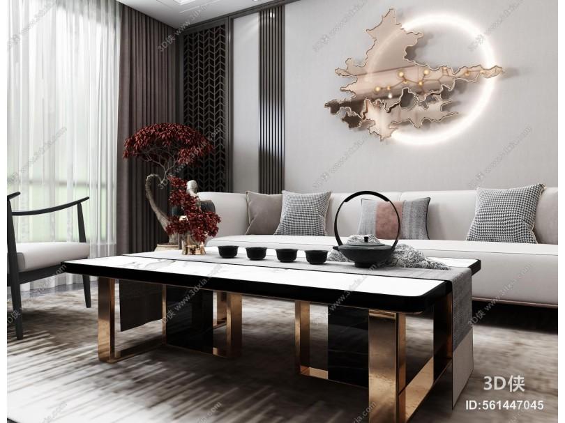 新中式风格客厅 餐厅