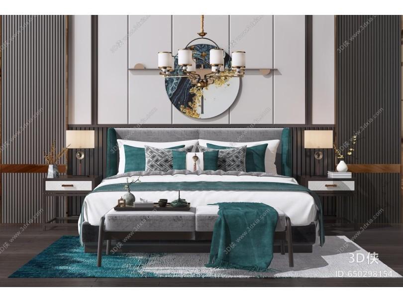 新中式双人床组合 床榻 床头柜