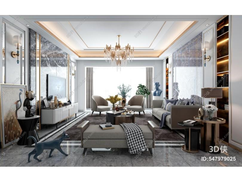 现代客厅 组合沙发 茶几 饰品 摆件