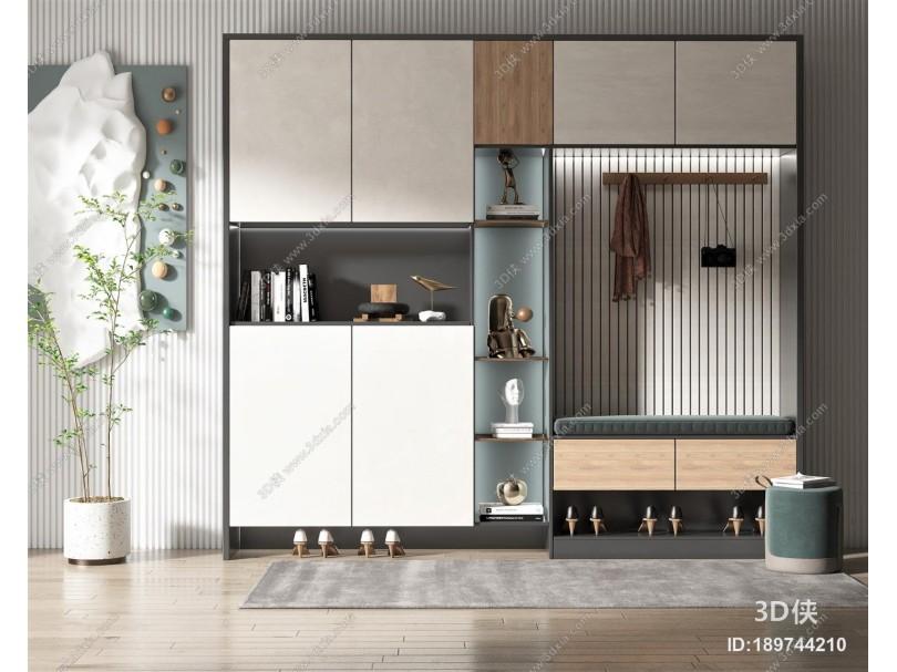现代风格鞋柜 饰品摆件 墙饰 盆栽植物