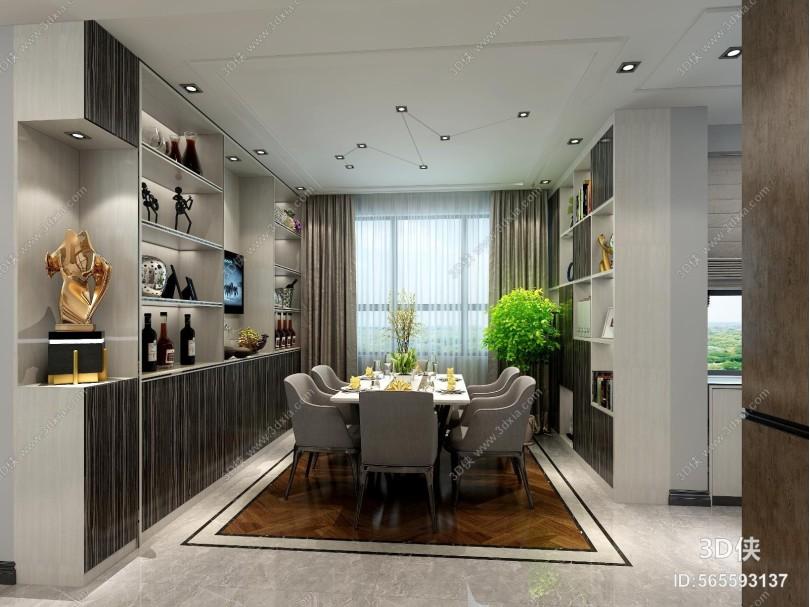 现代餐厅 餐桌 酒柜
