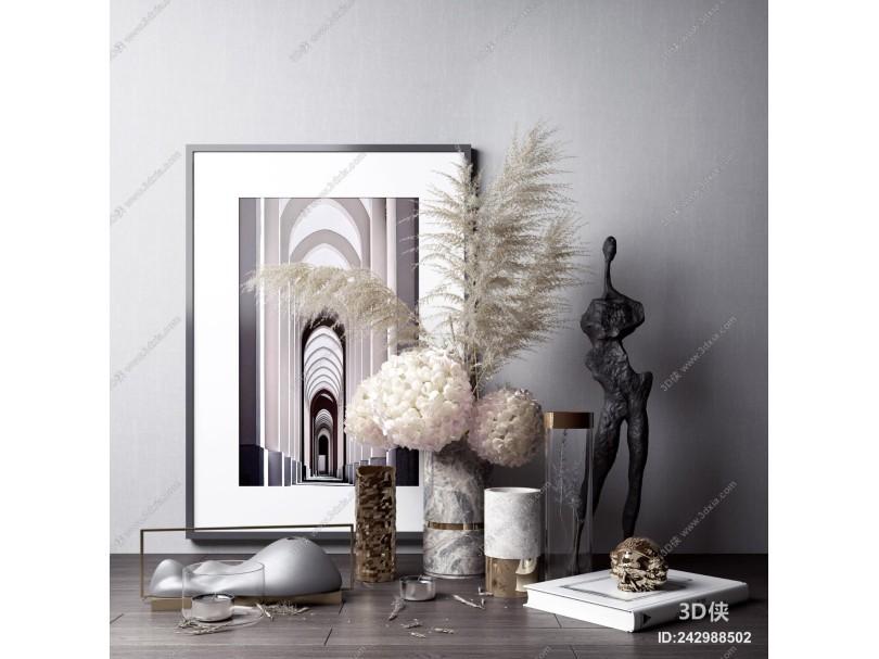 现代雕塑 花艺 摆件组合