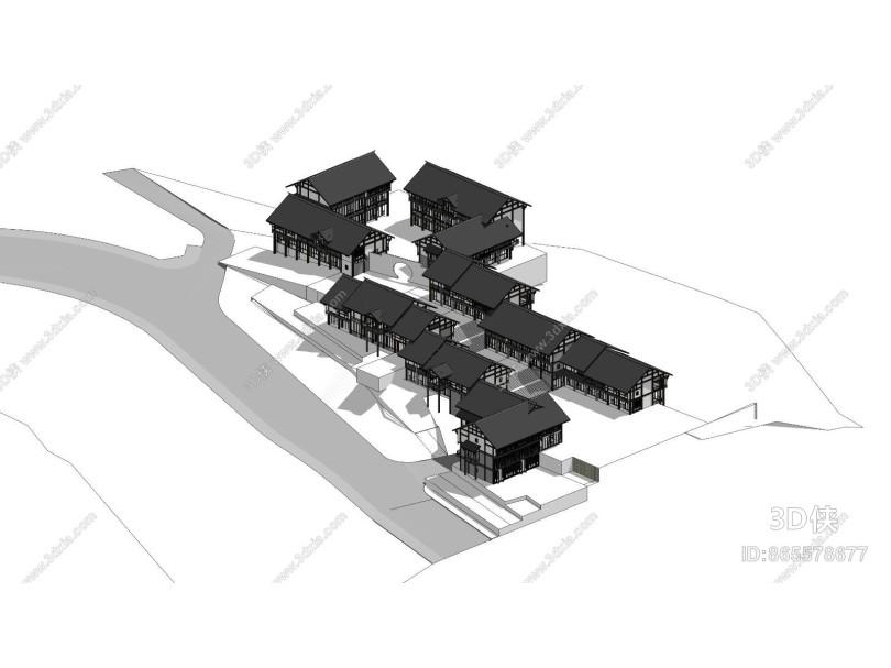 中式风格古建 民居商业街