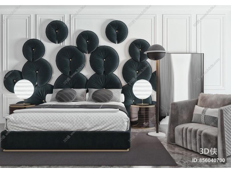 现代双人床品组合 床头柜 床头台灯