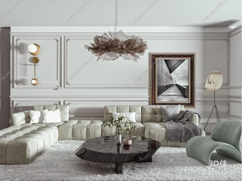 现代沙发茶几组合 转角沙发 单人沙发