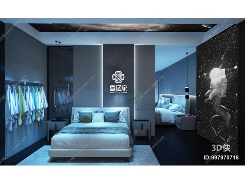 现代家具展厅 吊灯 床