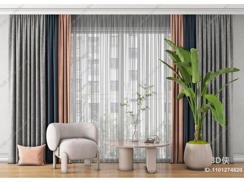 现代窗帘 纱帘 透光窗帘