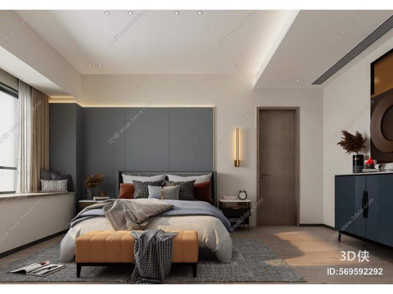 现代卧室 主卧 床